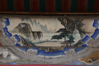 颐和园长廊彩绘画山峰松树