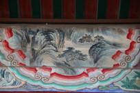 颐和园长廊彩绘画松柏山峦