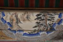 颐和园长廊彩绘画松柏山峦图