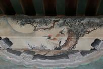 颐和园长廊彩绘画松上红顶鹤