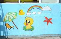 儿童卡通小鸭子墙壁画