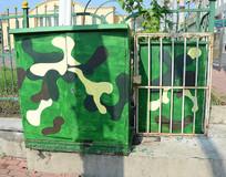 绿色创意迷彩高压电箱
