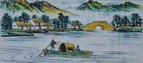 墙体绘画之湖面泛舟