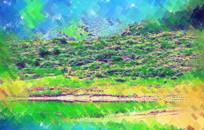 丛林湖泊水彩画