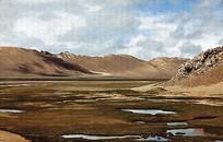 高原山坡风景画