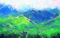 山坡水彩画