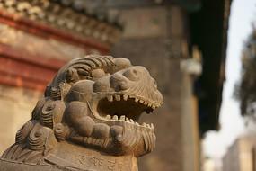太原文庙正门铁狮子