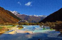 峡谷山水画