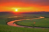 额尔古纳河日落景观