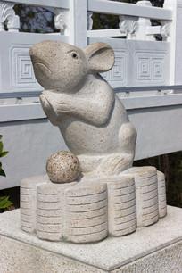 十二生肖鼠石雕