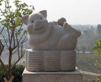 十二生肖猪石雕