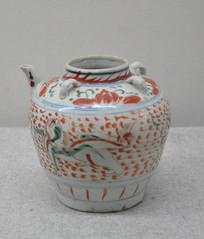 文物明五彩狮球纹茶壶