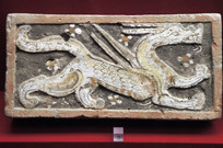 魏晋时期青龙雕刻彩绘砖
