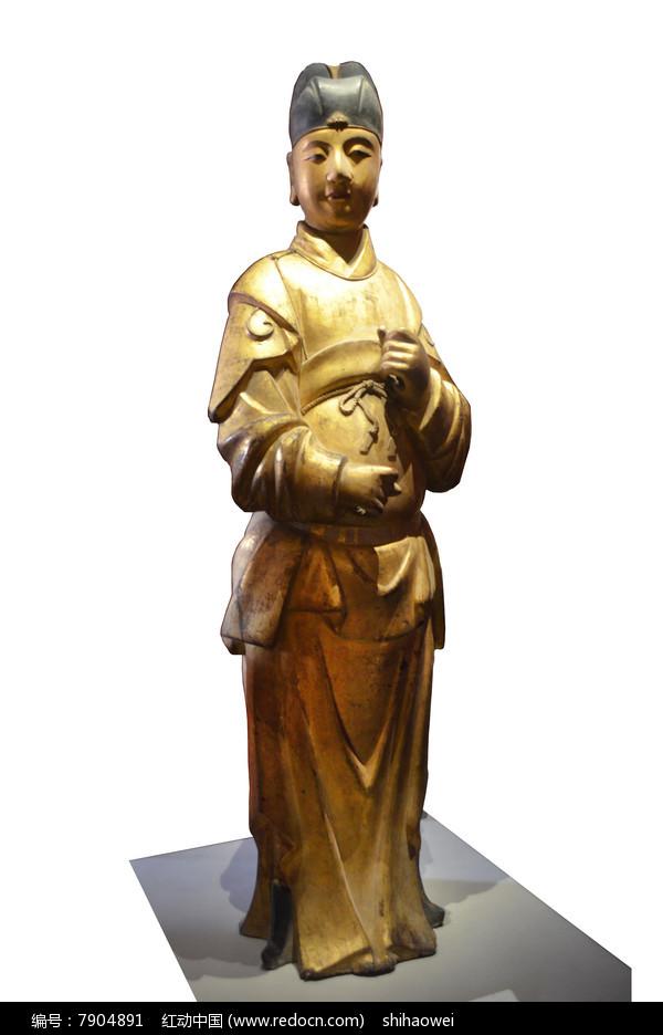 明代夹纻金漆女官像