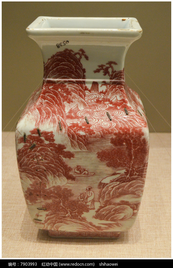 清道光釉里红山林人物四方瓶