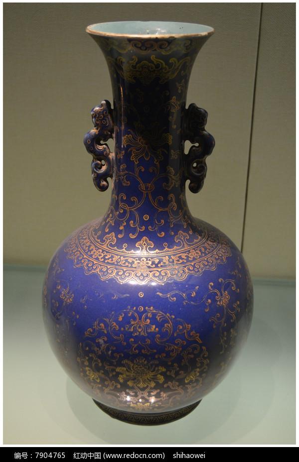 清光绪蓝釉描金皮球花赏瓶