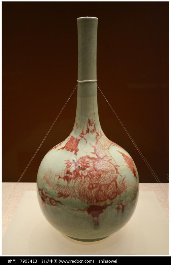 清雍正釉里红龙纹油锤瓶