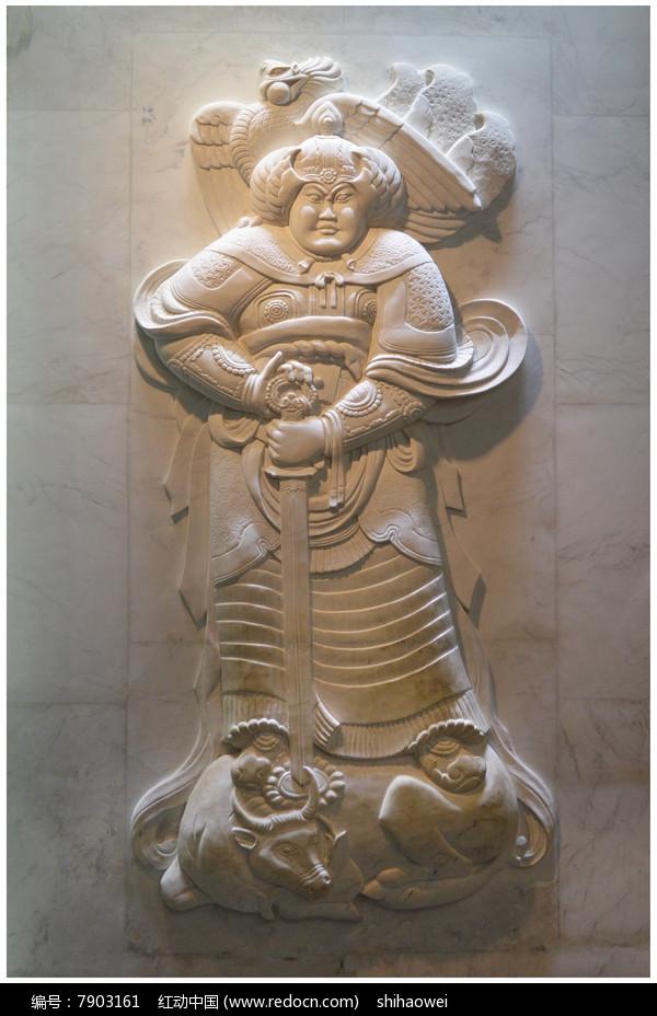 曲阳浮雕武士像