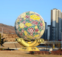 圆球花雕塑
