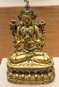 明代铜镀金文殊菩萨像