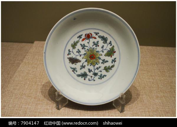 清代五彩花卉纹盘