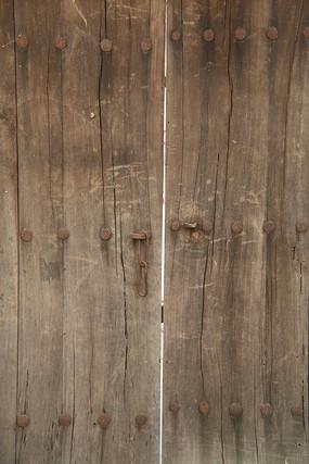 老木板对开门背景