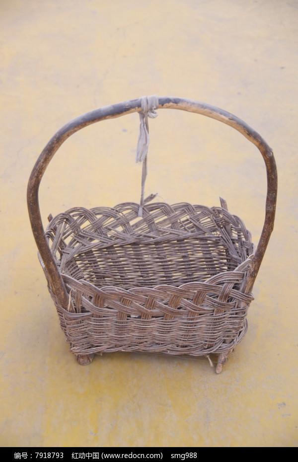 老物件藤编提梁方形篮子