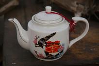 老物件喜鹊喜字茶壶
