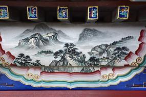 古建彩绘国画山水图片