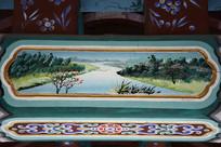 古建彩绘河流绿岸