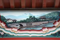 古建彩绘湖岸楼阁