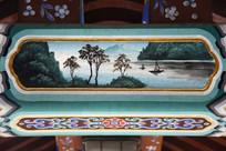 古建彩绘湖水小舟