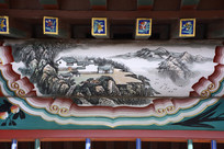 古建彩绘山中民居