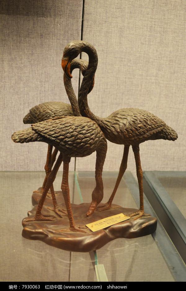 火烈鸟木雕摆件
