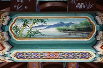 建筑彩绘竹林风景