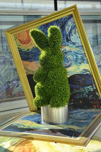 植物雕塑小兔子
