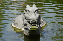 池塘里的乌龟雕塑图片