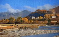 新疆秋色风景画