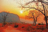 深秋夕阳装饰画