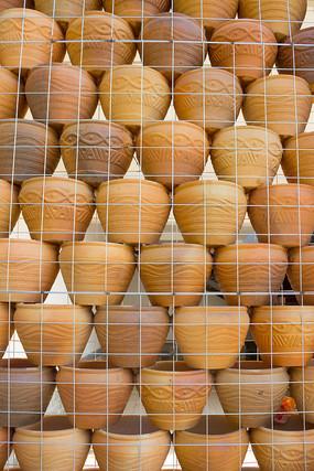 陶盆装饰墙