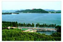 远山东湖绿树风景鸟瞰