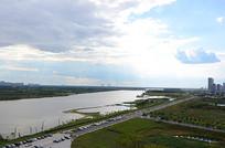 哈尔滨松花江两岸城市风景