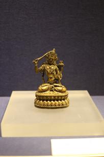 明铜鎏金文殊菩莎坐像