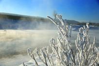 冰河雾凇晨雾