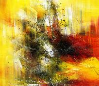 现代风格装饰画 暖色调抽象油画