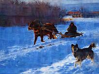 电脑油画《雪乡即景》