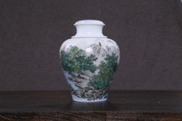 山水风景瓷罐