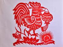 中国传统剪纸鸡和灯笼