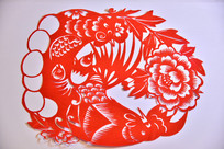 中国传统剪纸技艺金鸡