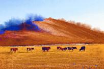 电脑水彩画《牧场牛群》